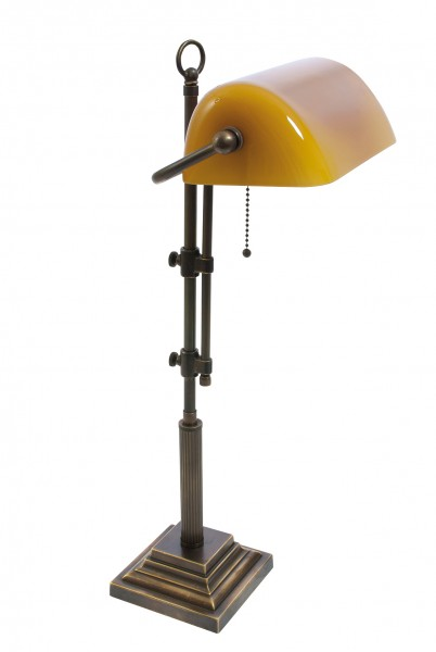 Bankers Lamp / Bankerlampe / Schreibtischleuchte, Landhaus Stil, Messing antik-handpatiniert (Altmessing), hochwertige Ausführung mit orangenem mundgeblasenem Glas, Höhe 61 cm bis 72 cm einstellbar, 230 V, E27 60 W